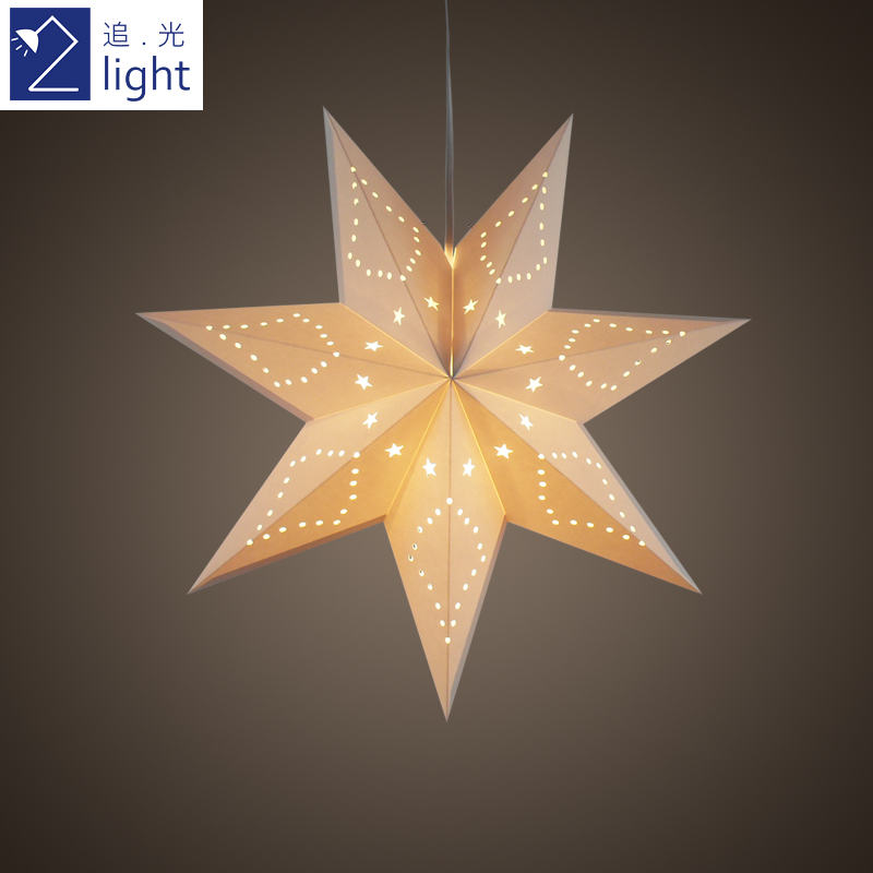 style IKEA paper chandelier Nordic star shade lamp Light OnX8kN0wP