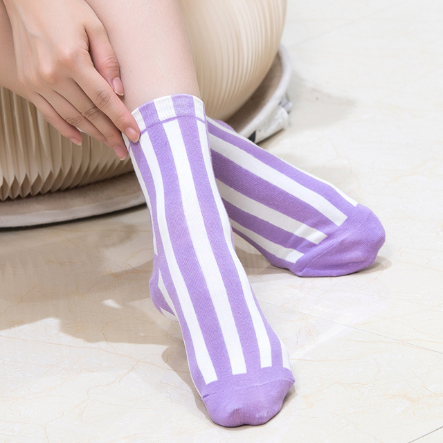 aa98d2939 2 Pairs Lot Woman Korean Candy Color Vertical Stripes Cotton Socks Female  Absorb Sweat Deodorize Rainbow Color Long Calcetines