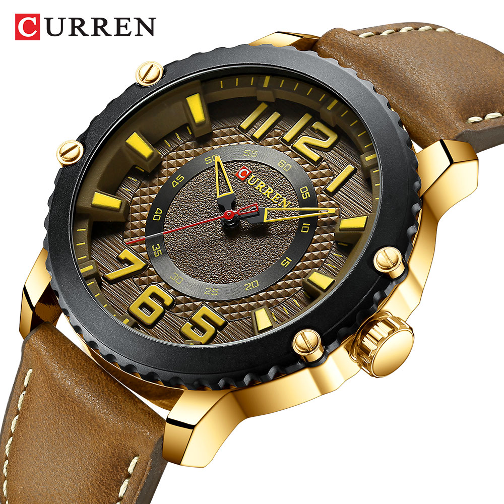 Curren Top Brand Fashion Men's Clock Causal Business Quartz New Leather Light Watches Men Wristwatch Time Gift Relogio Masculino