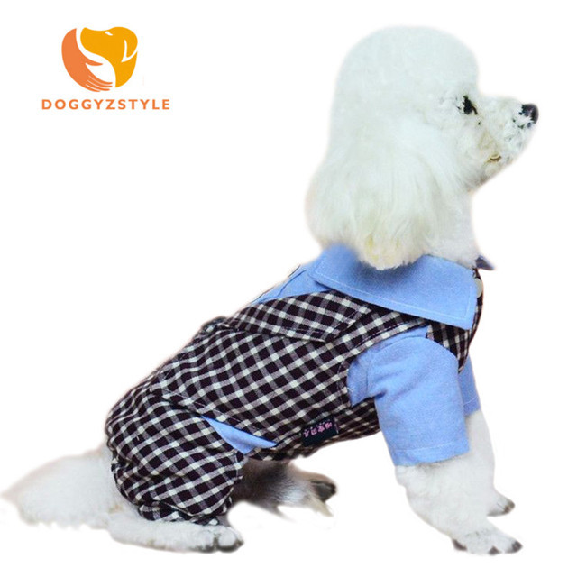 DOGGYZSTYLE Dog Jumpsuit Pet Shop Yorkies Clothes Hoodies Dog Plaid Puppy Coat Costume Jacket Summer Pomeranian Dog