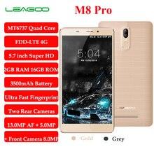 Leagoo m8 pro 5.7 «HD MT6737 Quad Core Smartphone 2 ГБ RAM 16 ГБ ROM Телефон 3500 мАч Батареи 13.0 МП Android 6.0 Dual задней Камеры