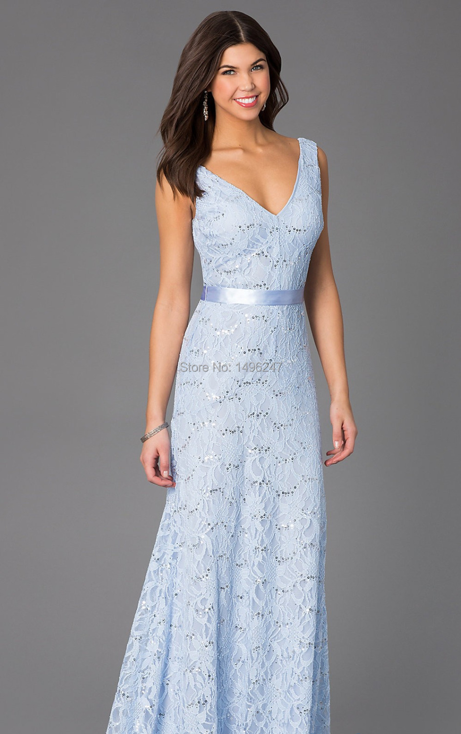 Online get cheap tea length bridesmaid dresses aliexpress high quality light blue lace a line bridesmaid dresses with sashes v neck open back tea ombrellifo Image collections