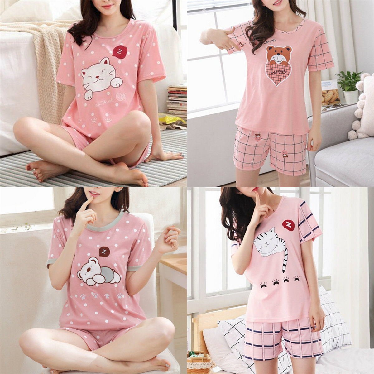 1PC Short Pants + Short Sleeve Tops   Pajamas     Sets   Cotton Nightwear Big Yards M-XXL Cartoon Pyjamas Women Summer Sleepwear M-2XL