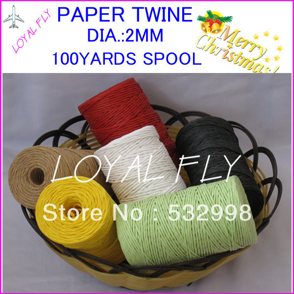 10 warna kerajinan tali kertas 100 pcs / lot 100 yards / spool, tali - Hari libur dan pesta