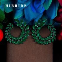 HIBRIDE Luxury Design Leaf Shape Multicolor Cubic Zironia White Gold Color Stud Earring For Women Jewelry Boucle d'oreille E-770