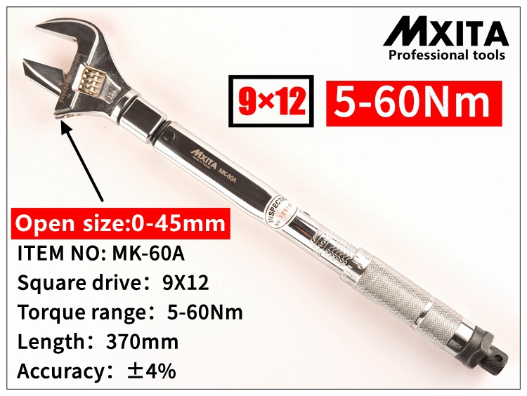 MXITA OPEN wrench Adjustable Torque Wrench Interchangeable Hand Spanner Insert Ended head Torque Wrench 9X12 5-60Nm mxita open wrench insert ended head torque wrench 9x12 5 25nm adjustable torque wrench interchangeable hand spanner