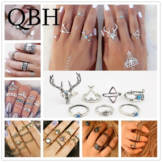 European & American Rings Set Beach Jewelry Finger Ring Fashion Anel Anillos Boh