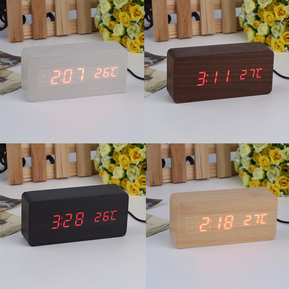 New 4 Colors Large Size LED Wooden Alarm Clocks with Thermometer Rectangle Table Clocks Digital Clock Classic LED Wooden Clocks