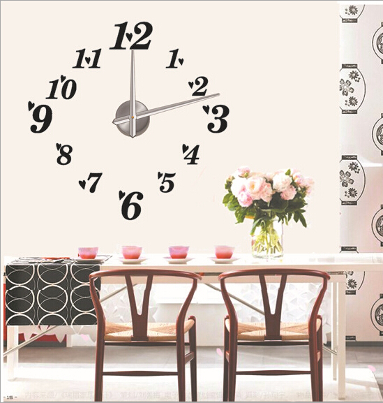 creative designs mirror wall clock large. Free shipping luxury 3D DIY large wall clock big size creative numbers mirror  stickers