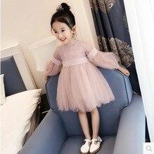 Юбка принцессы с длинными рукавами, 2018 детская одежда, осеннее платье принцессы с кружевом, трикотажная юбка для больших детей