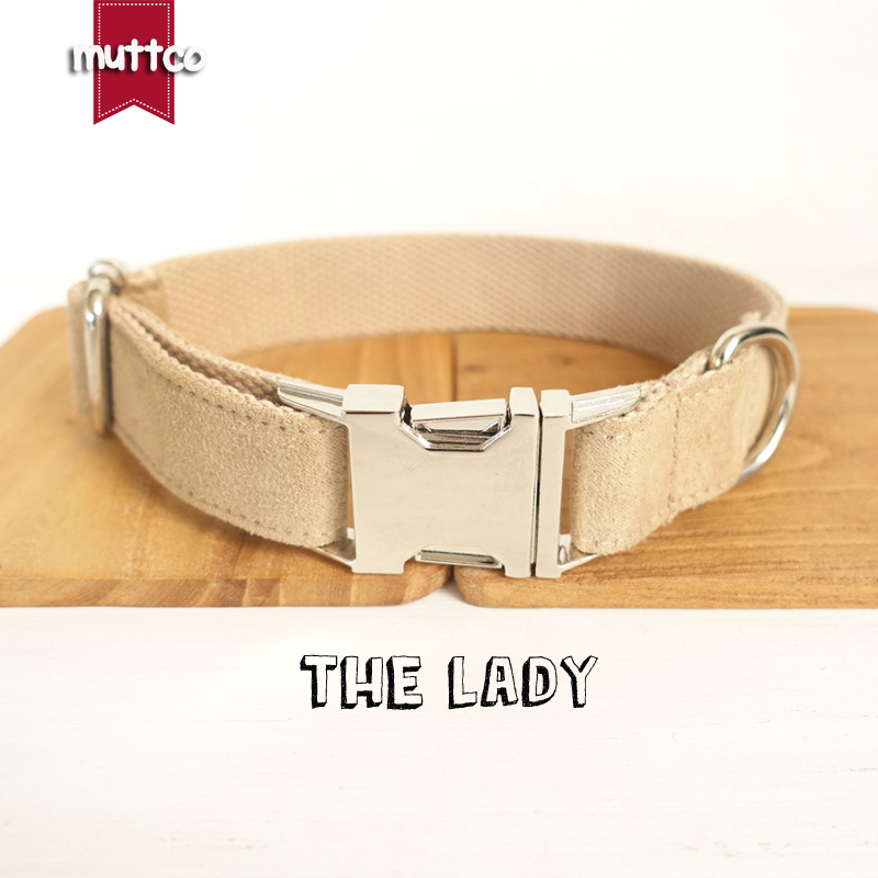 100pcs/lot MUTTCO wholesale self-design soft collar THE LADY handmade light brown 5 sizes nylon dog collars and leashes UDC027