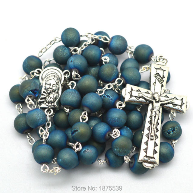 Blue natural stone round bead chain rosary high quality necklace cross pendant
