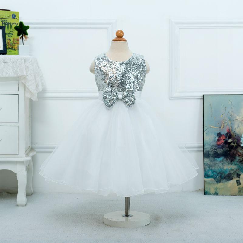 White Puffy Flower Girl Dresses 2018  Sequined Bow Communion Dresses Pageant Dresses For Little Girls