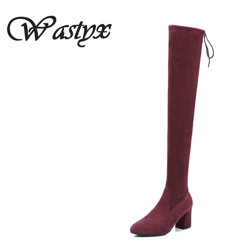 Wastyx Big Size 34-44 Sexy Thigh High Boots For Women Velvet Winter Shoes Lace Up Over The Knee Boots Woman High Thick Heel