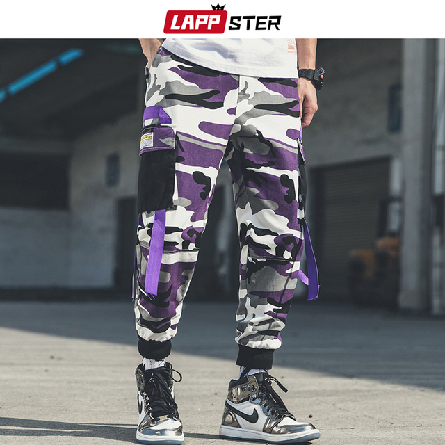 LAPPSTER Men Streetwear Camouflage Cargo Pants 2020 Overalls Mens Hip Hop Joggers Pants Korean Style Patchwork Belt Sweat Pants 1