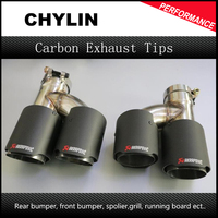 1Pair ID 63mm OD 89mm H Style Universal Dual Car Exhaust Pipe Muffler Tip Stainless Steel