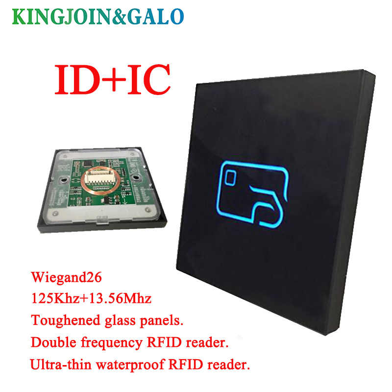 Ultrathin waterproof door access control system read head IC card +ID card access card reader wg26/34 dual frequency access cont waterproof touch keypad card reader for rfid access control system card reader with wg26 for home security f1688a