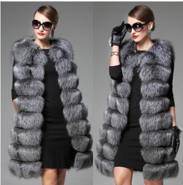 Womens Spring Autumn Winter Fake Fur Waistcoats Long Section Large Size Female Faux Fur Vest Coats Fashion Vests S50