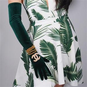 Mulheres De Veludo Luvas 60 centímetros Crescimento Verde Verde De Veludo Alta Elástica de Veludo veludo Luvas Touch Screen RLS06