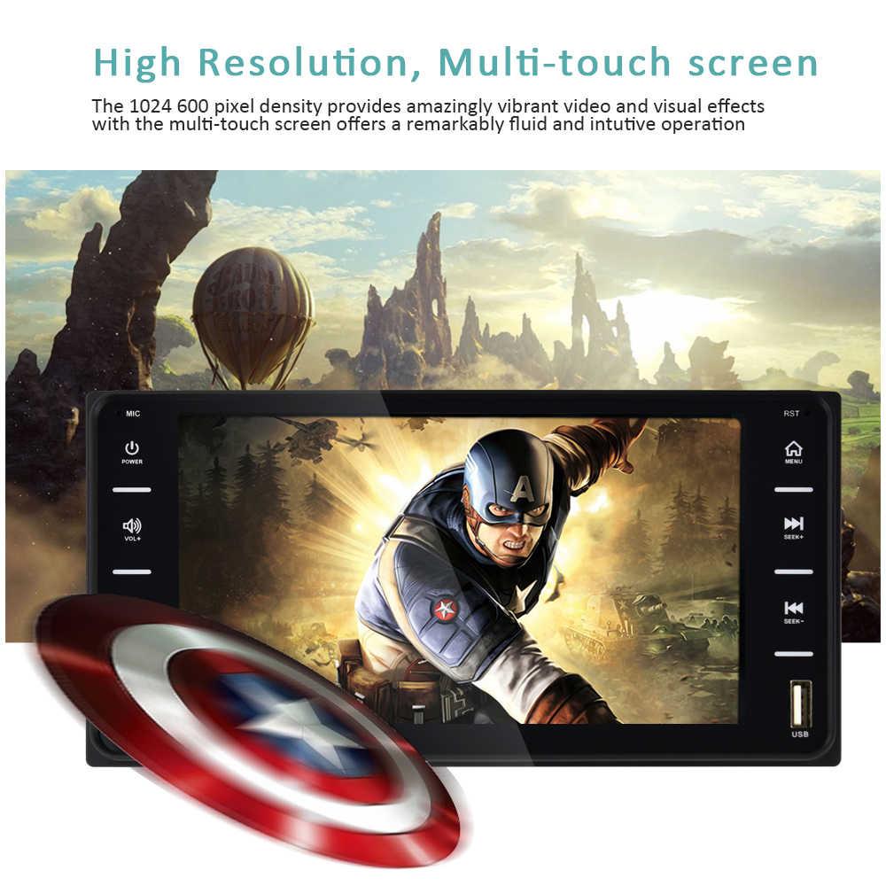 """AMPrime 7 """"coche Radio de Audio 2din del coche de la pantalla táctil Multimedia Bluetooth de enlace Android/IOS/FM/AUX reproductor MP5 cámara trasera"""