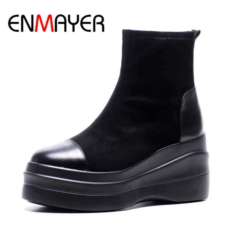ENMAYER Fashion Women Ankle Boots Slip-on Leather Shoes High Heel Platform Boots Black color Shoes Women Sexy Round Toe Boots black women ankle boots handmade vintage medium heel round head shoes elegant boots xiangban