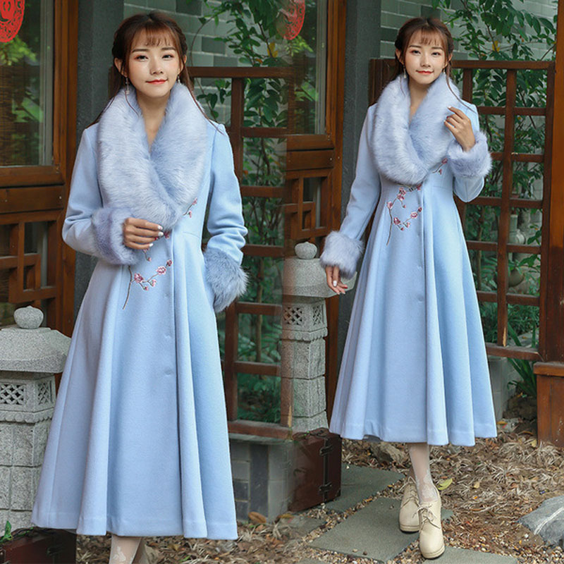Pardessus 2018 Wh07 Femmes Singlebreasted Casual Blue Coton Longues Femininos New Manches Robes r5Wrxqg8wC