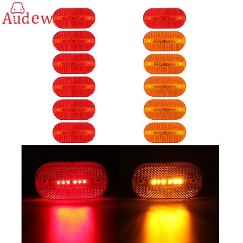 12Pcs 6LED Car Trailer Tail Light Side Light Red/Amber Clearance Lamp for Trailer Truck  DC 12V yamaha led trailer light kit