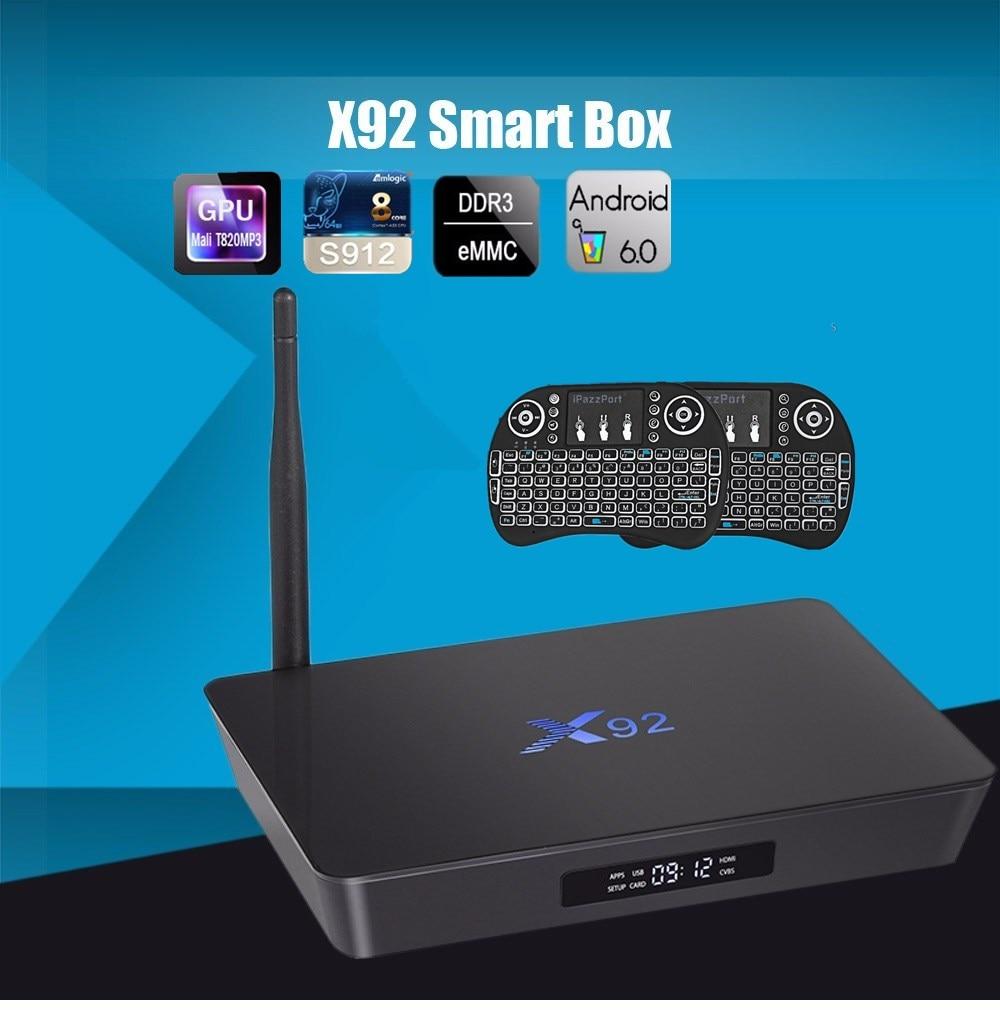 Original X92 2GB 16GB Android 6 0 Smart TV Box Amlogic S912 OCTA Core CPU Kodi
