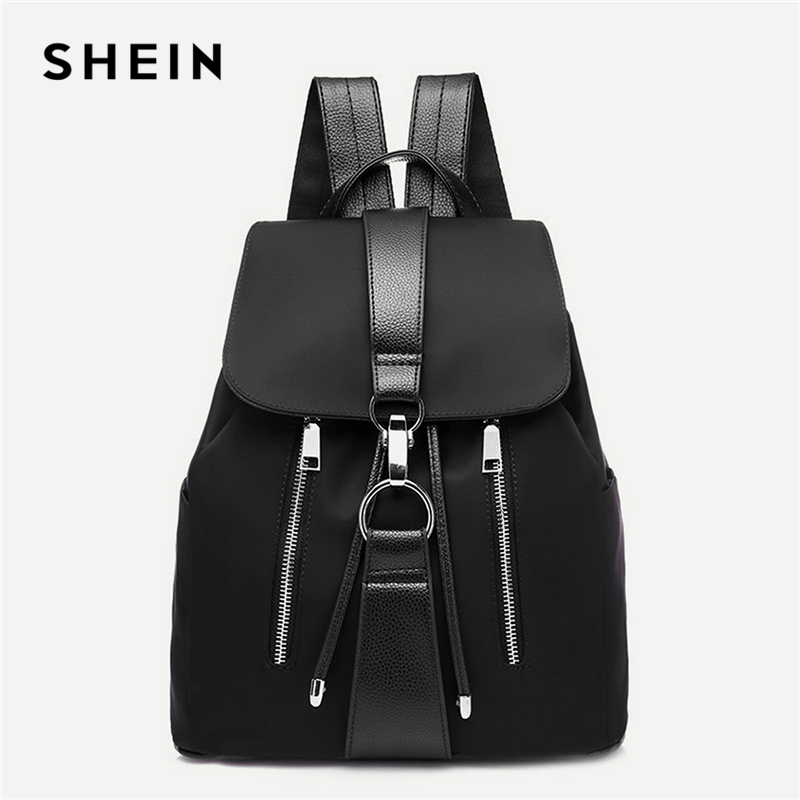 SHEIN Black Highstreet Modern Lady Metal Ring Detail Zipper PU Backpack 2018 Fashion Streetwear Backpacks contrast pu grommet detail dress with necklace