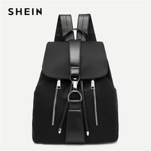 98647fac0c SHEIN negro Highstreet moderna señora Metal anillo detalle cremallera PU  mochila 2018 moda Streetwear mochilas