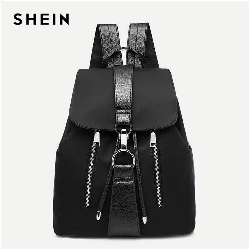 SHEIN Schwarz Highstreet Moderne Dame Metall Ring Details Zipper PU Rucksack 2018 Mode Streetwear Rucksäcke