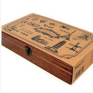 Hot Sell Romantic Memories Of The New York Chapter Retro Travel Seal Wood Box Stamps