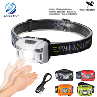 5W LED Body Motion Sensor Headlamp Mini Headlight Rechargeable Outdoor Camping Flashlight Head Torch Lamp With