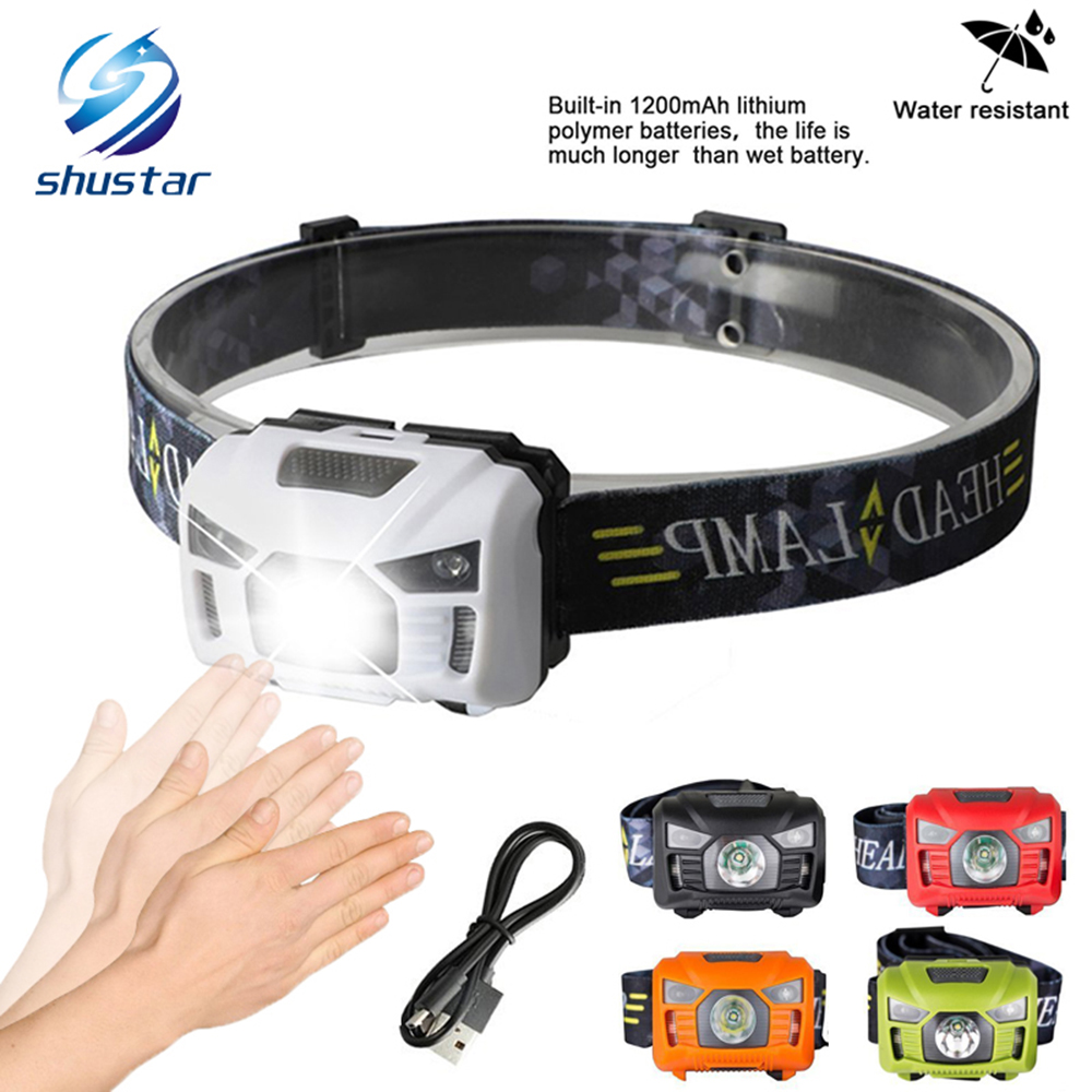 5W LED Body Motion Sensor Headlamp Mini Headlight Rechargeable Outdoor Camping Flashlight Head Torch Lamp With USB