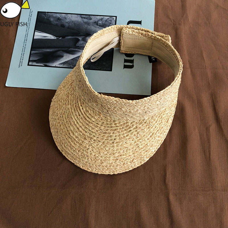 ladies uv roll up korean sun visor hat women sun visor straw raffia sun visor caps straw visor(China)