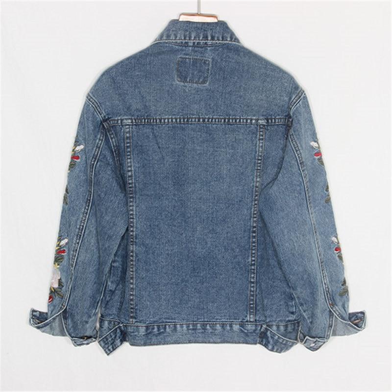 Base À Veste Vintage Femelle Courte Taille Jeans Manteaux Blue Harajuku Denim Grande Dames Longues Broderie Femmes De Manches Coréennes qqRO7x
