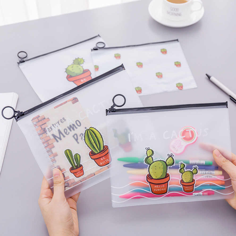 1PC Fashion Cute Cactus Pencil Case Transparent Stationery Storage Bag Kawai School Supplies Makeup Bag