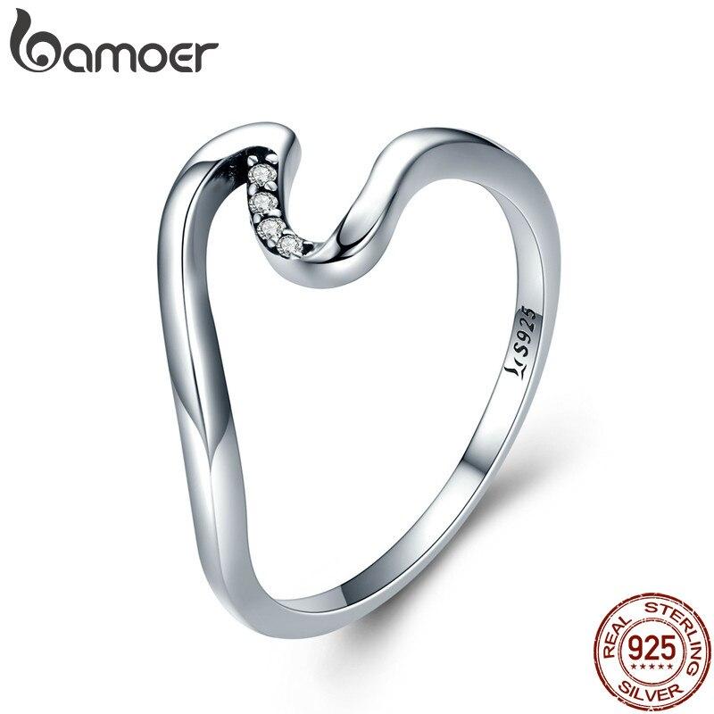 Bamoer Authentische 100% 925 Sterling Silber Geometrische Welle Finger Ringe Für Frauen Hochzeit Engagement Schmuck Geschenk S925 Scr378