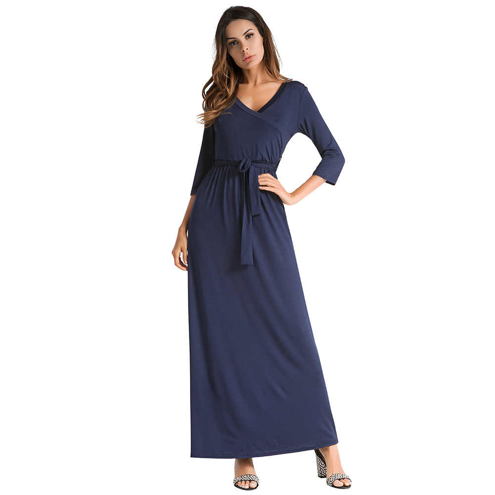 f49b2989e545 Sexy Casual Home Wear Women Dress Robe Solid Color Long Maxi Girl Dresses  European Style Large