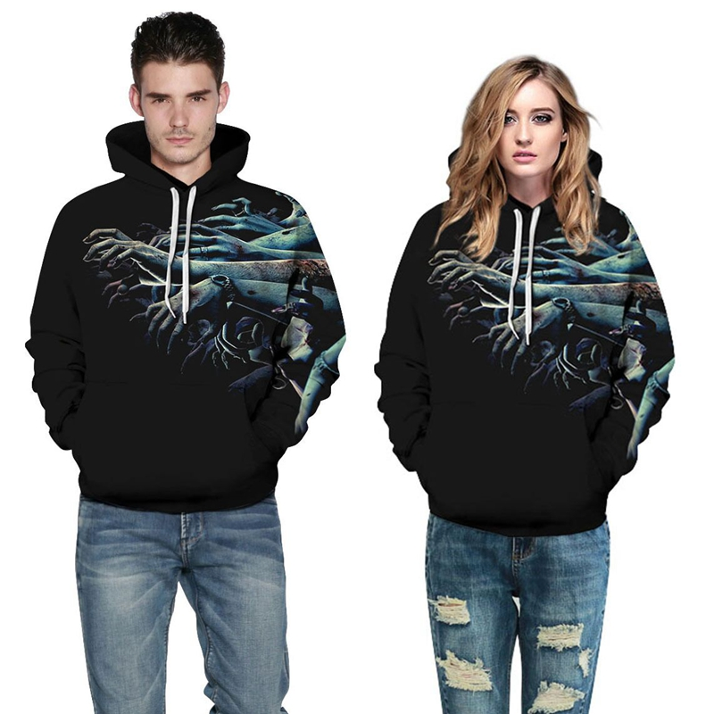 CFYH 2018 New Fashion Waves Hoodies Men/Women 3D Sweatshirts Print Halloween Zombie Arm Stylish Hooded Hoodies Size 3XL