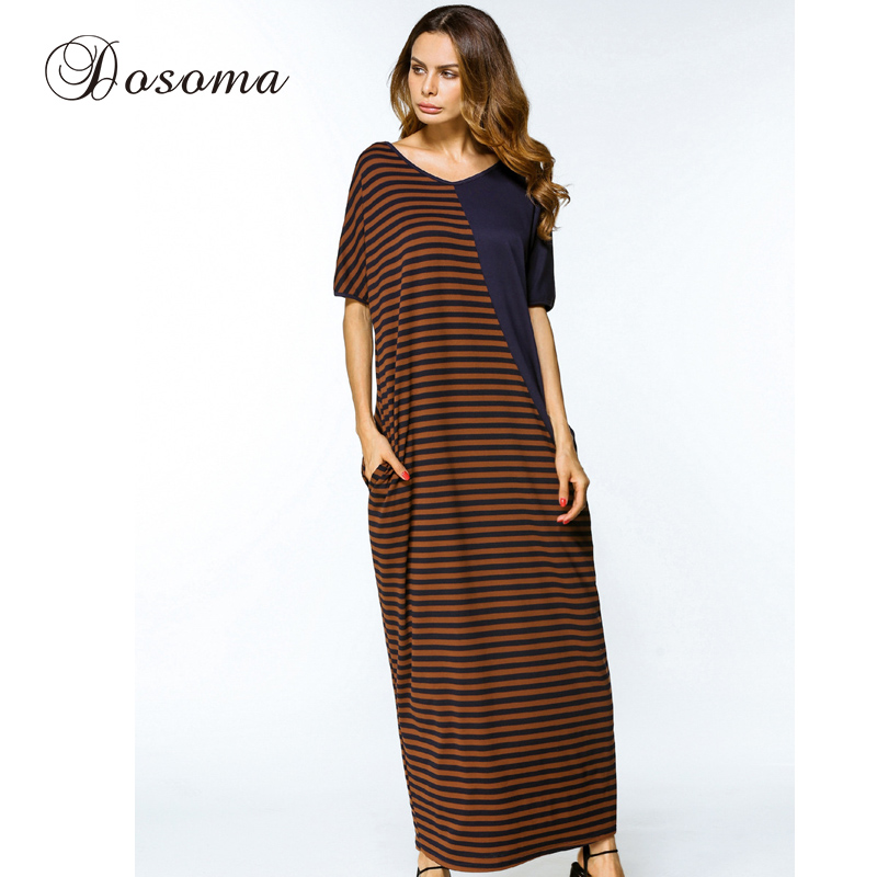 Women Long Robe Striped Maxi Dress Plus Size Casual Muslim Cotton ...