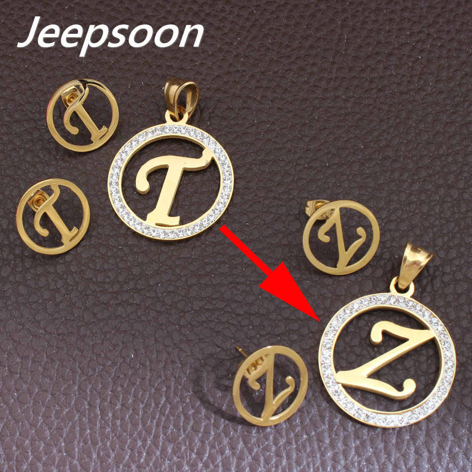 T-Z Wholesale Stainless Steel Letter Fashion Gold Color stud Earrings And Pendant  Jewelry Sets For Women 463499c5eb8e