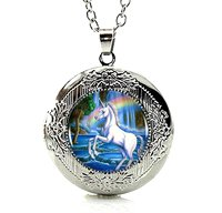 Silver Tone Unicorn Horse Rainbow Locket Pendant Necklace Glass Cabochon Art Picture Jewelry