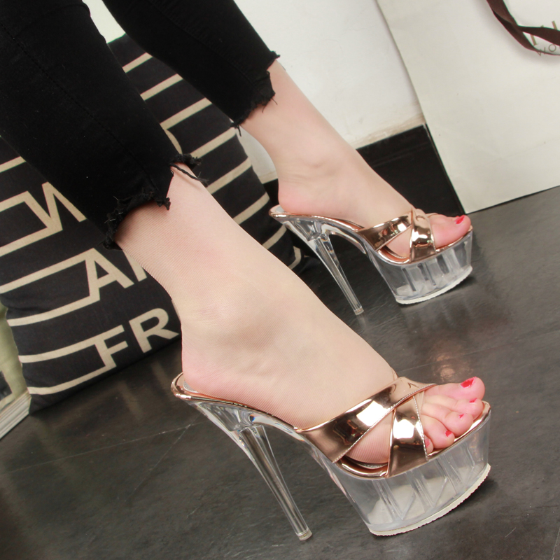 Woman Slippers Wedding Shoes Sandals Nightclub Sexy Transparent Heels 14.5CM Female Shoes Platforms Summer Pumps Party Shoes