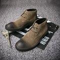 MENS Retro Lace Up de Cuero Nobuck Super Caliente Del Tobillo Martin Botas de Invierno Casual Zapatos Oxford