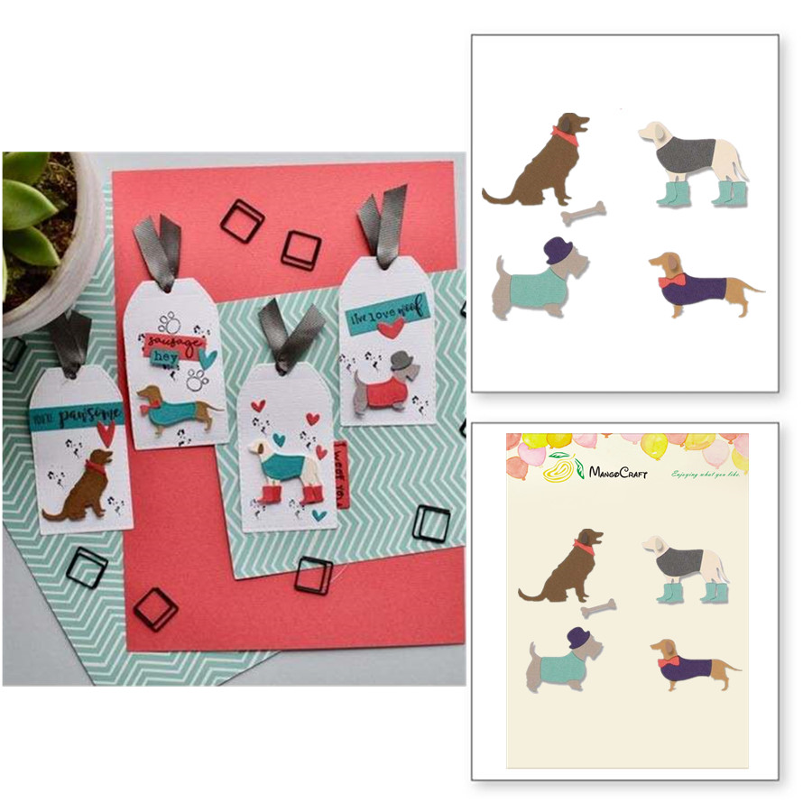 DOG Metal Cutting Dies Stencil for DIY Scrapbooking Photo Album Embossing Paper Cards Crafts Diecuts 2018