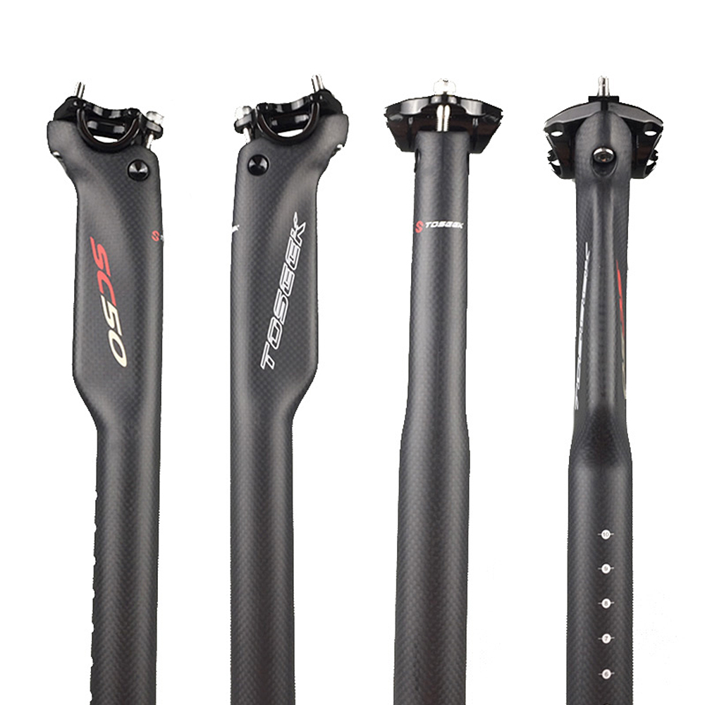 TOSEEK 27.2//30.8//31.6mm Carbon Fiber Seatpost MTB Road Bike Bicycle Seatpost