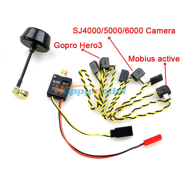FPV Transmitter 5.8G 600mW 32Ch A/V Module Mushroom Antenna for GoPro Hero SJ4000/5000/6000 Camera General 5 8g 600mw mini wireless audio video av transmitter mushroom antenna 32ch tx fpv for gopro hero 3 mobius active 808 sj 4k f11800
