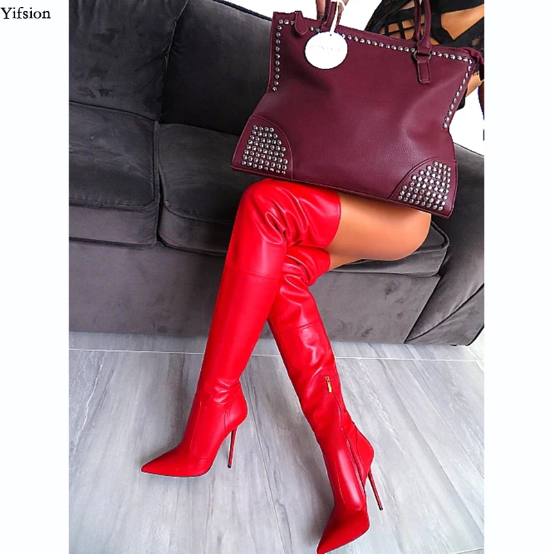 Olomm Women Spring Over The Knee Boots Sexy Stiletto Heels Boots Pointed Toe Gorgeous Red Dress