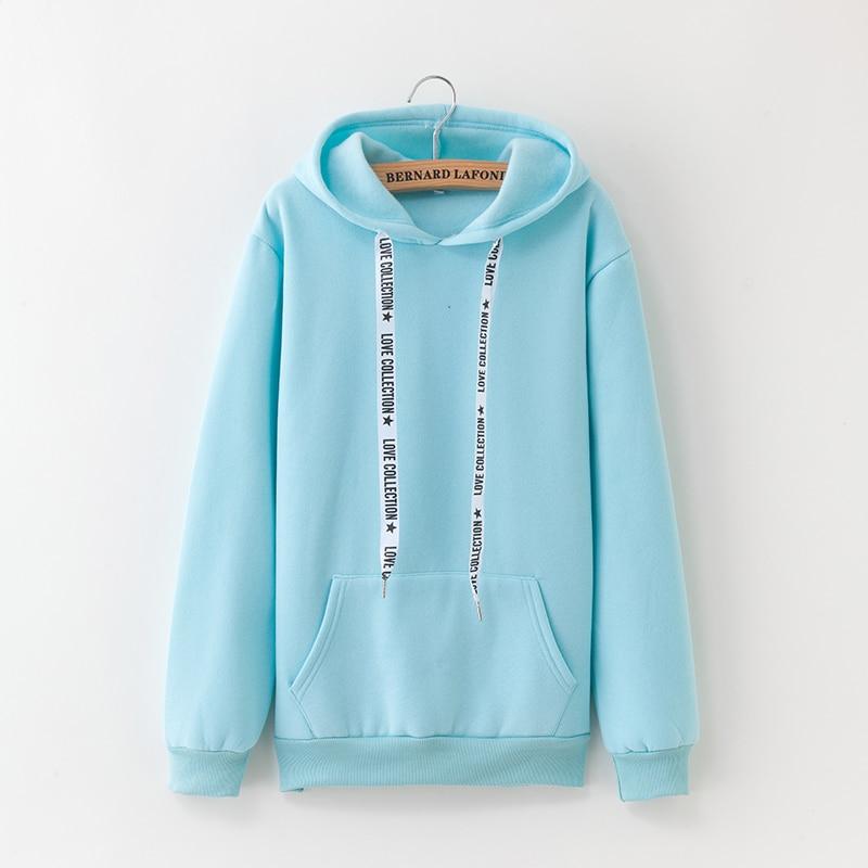 Hooded Tops Women's Sweatshirt Long-Sleeved Winter Velvet Thickening Coat 47